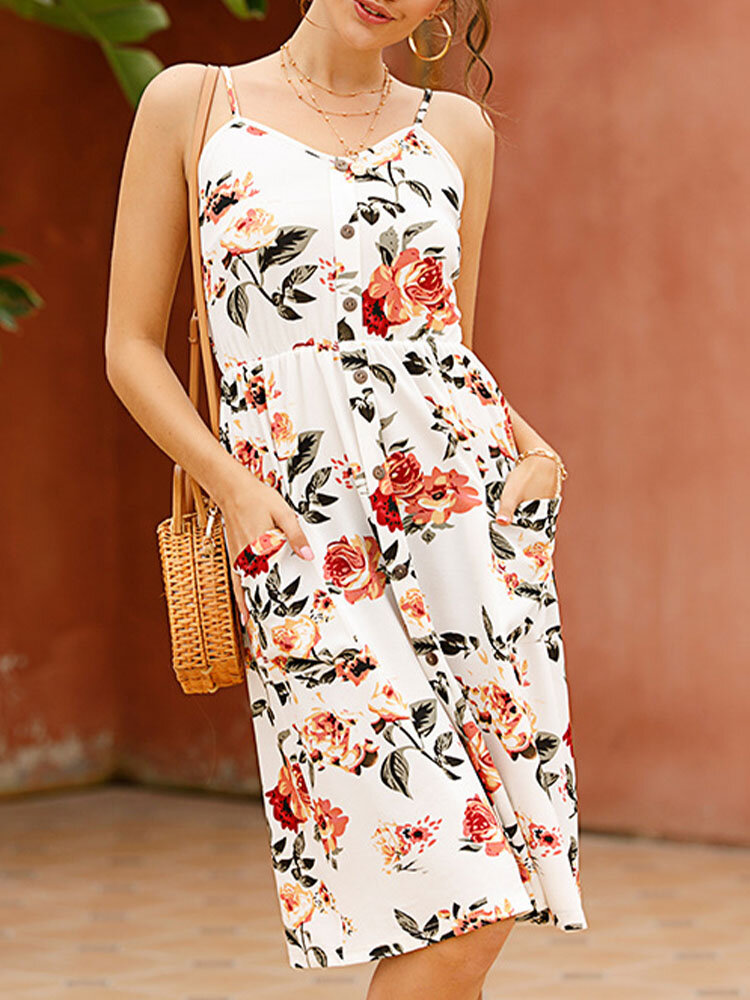 Holiday Flower Print Strap Backless Button Sexy Dress with Pockets