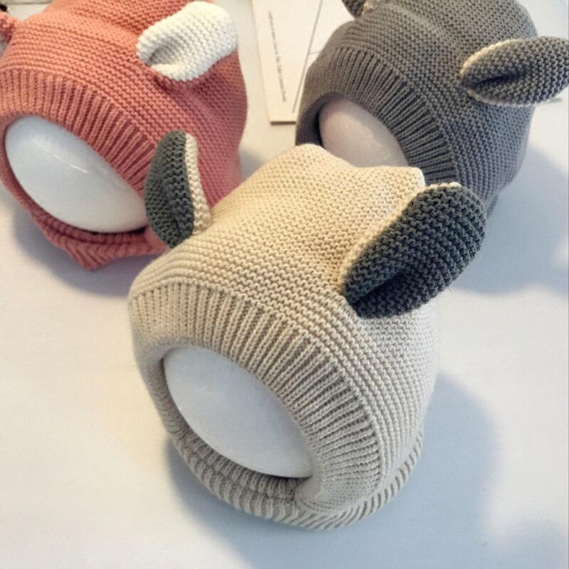 0-3 anni carino coniglio Orecchio a forma di bambini inverno caldo pile all'interno sciarpe cappello lavorato a maglia