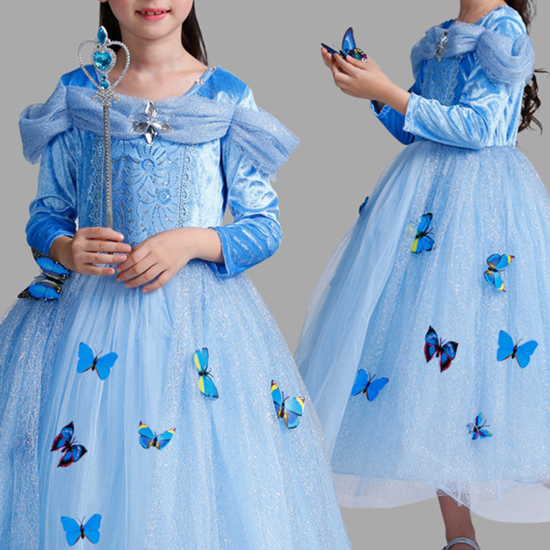 Girls Princess Cosplay Costume Dresses Kids Girls Party Dresses Clothes