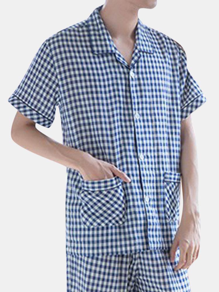 Loose Comfortbale Cotton Pajama Set Plaid Design Lapel Collar Short Sleeve Top Sleepwear