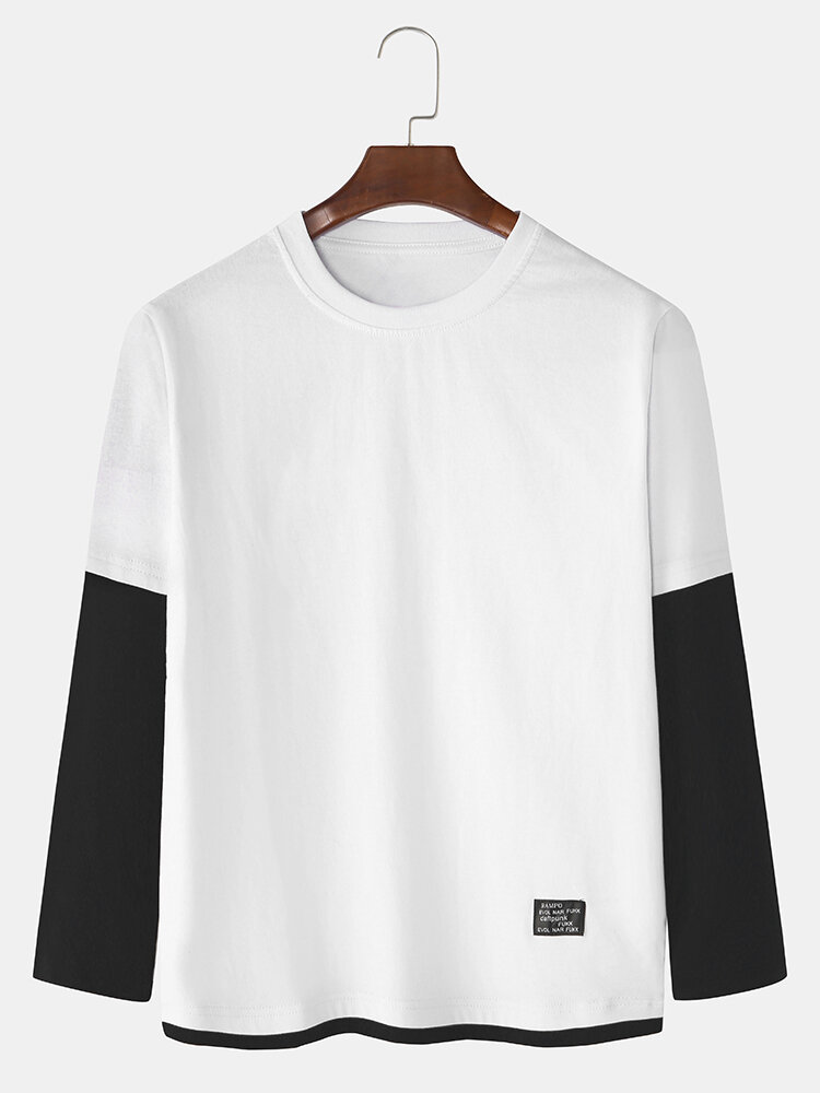 Mens Cotton Patchwork Solid Color Casual Thin Long Sleeve T-Shirts