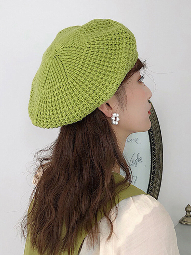Women Knitted Solid Color Dome Breathable All-match Beret