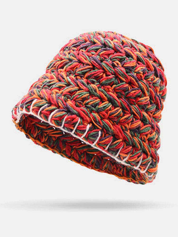 Women Woolen Rainbow Color Cuffed Ear Protection Warm Casual Beanie Bucket Hat