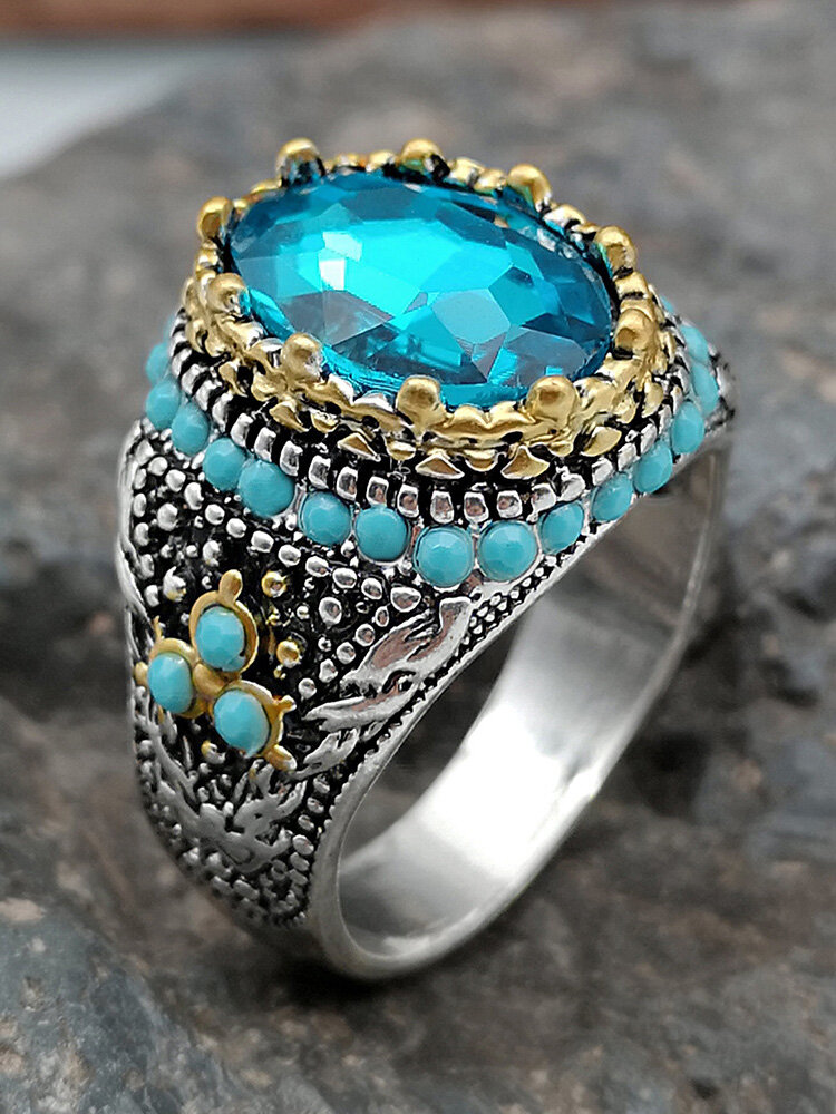 Vintage Inlaid Diamond Men Ring Two-Color Turquoise Women Ring Jewelry Gift