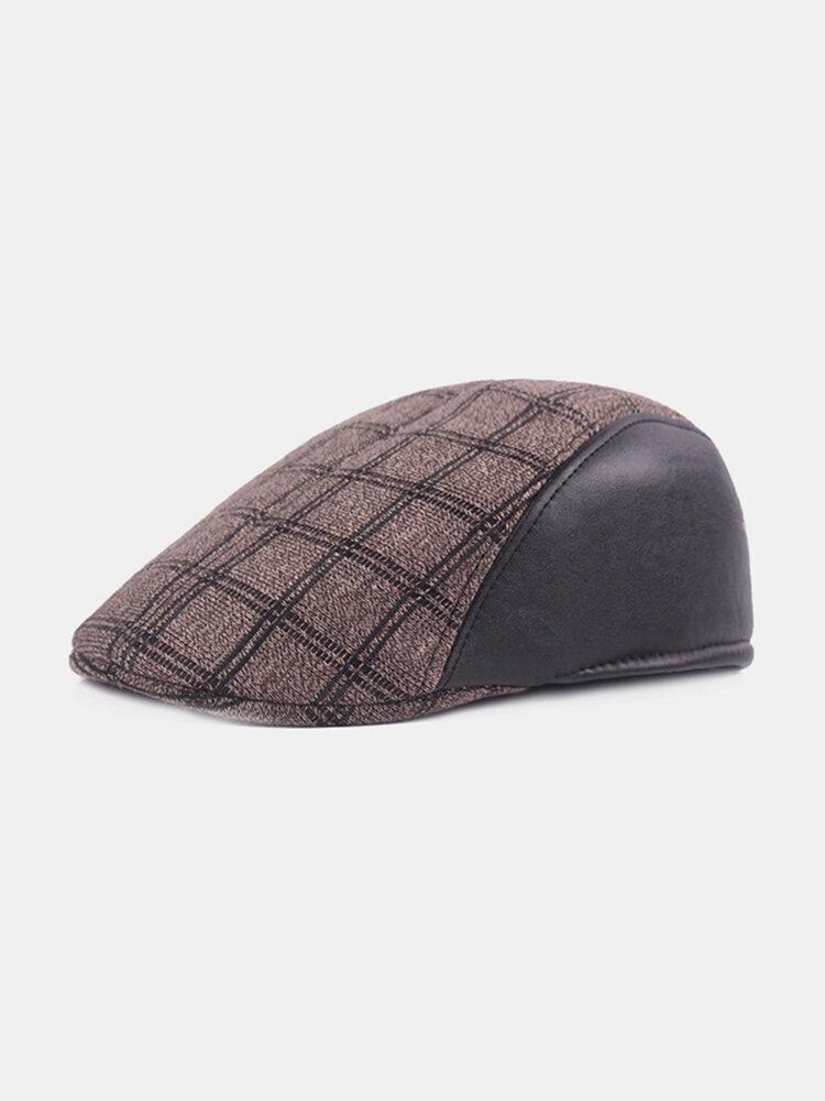 Mens Gird Cotton Patchwork Beret Cap Retro Forward Hat Sunshade Windproof Peaked Gorras Adjustable
