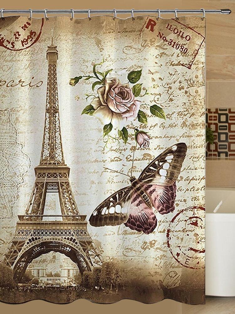 180x200cm Paris Bathroom Shower Curtain Eiffel Tower Waterproof Fabric & Hooks