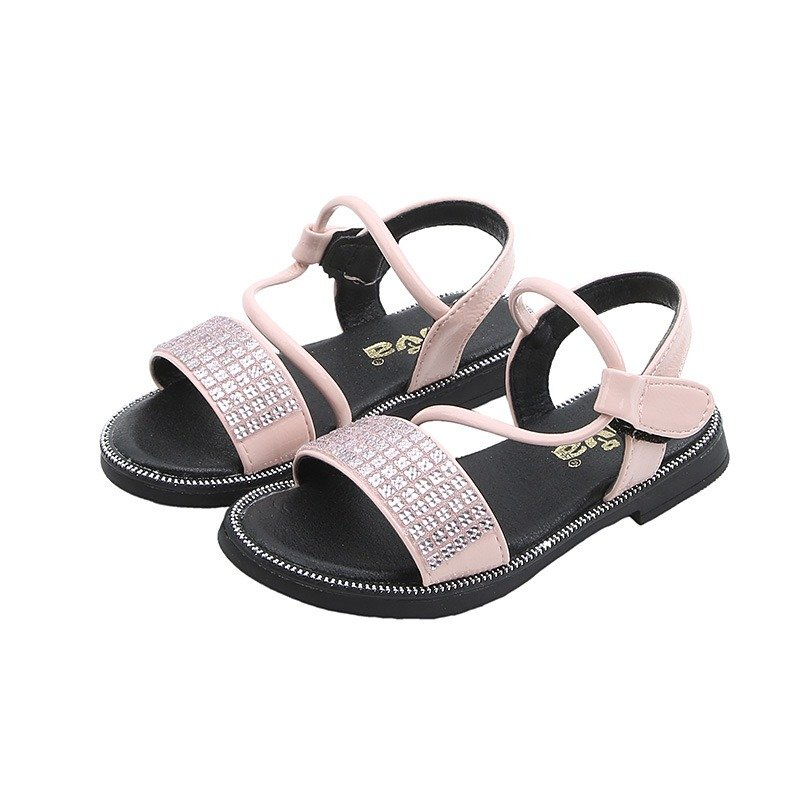 Girls_Pure_Color_Sequined_Hook_Loop_Comfy_Summer_Sandals