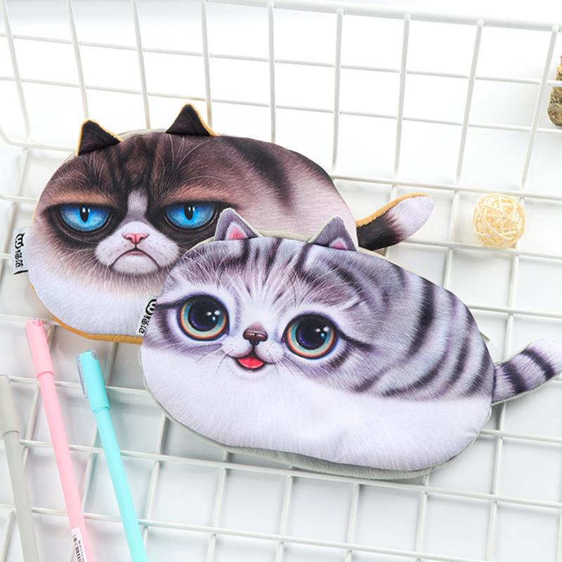Emulational  Kawaii Cats Zipper Pencil Case Big Capacity Pen Bag Creative Cute Stationery Pen Box