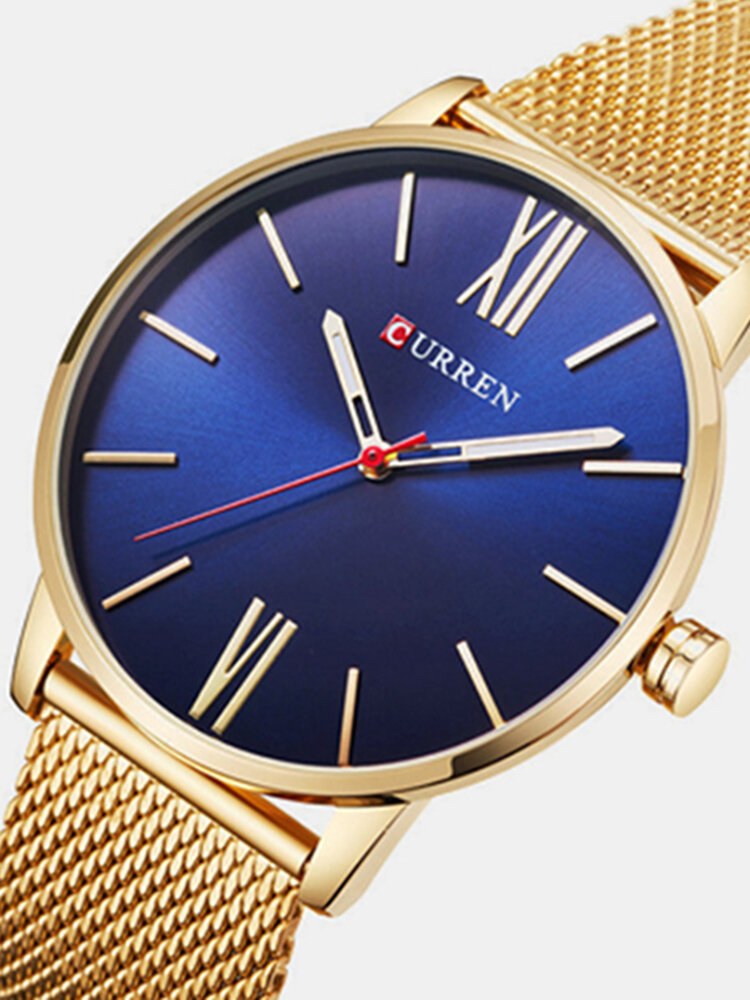 CURREN Luxury Mens Watch Fashion Casual Ultra Thin Waterproof Stainless Steel Silver Watch for Men