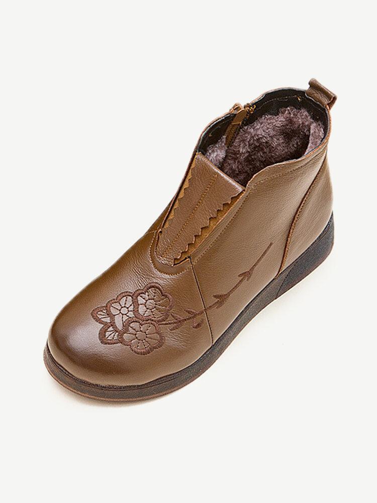 Leather Floral Decoration Slip Resistant Warm Lined Soft Sole Zipper Flat Boots