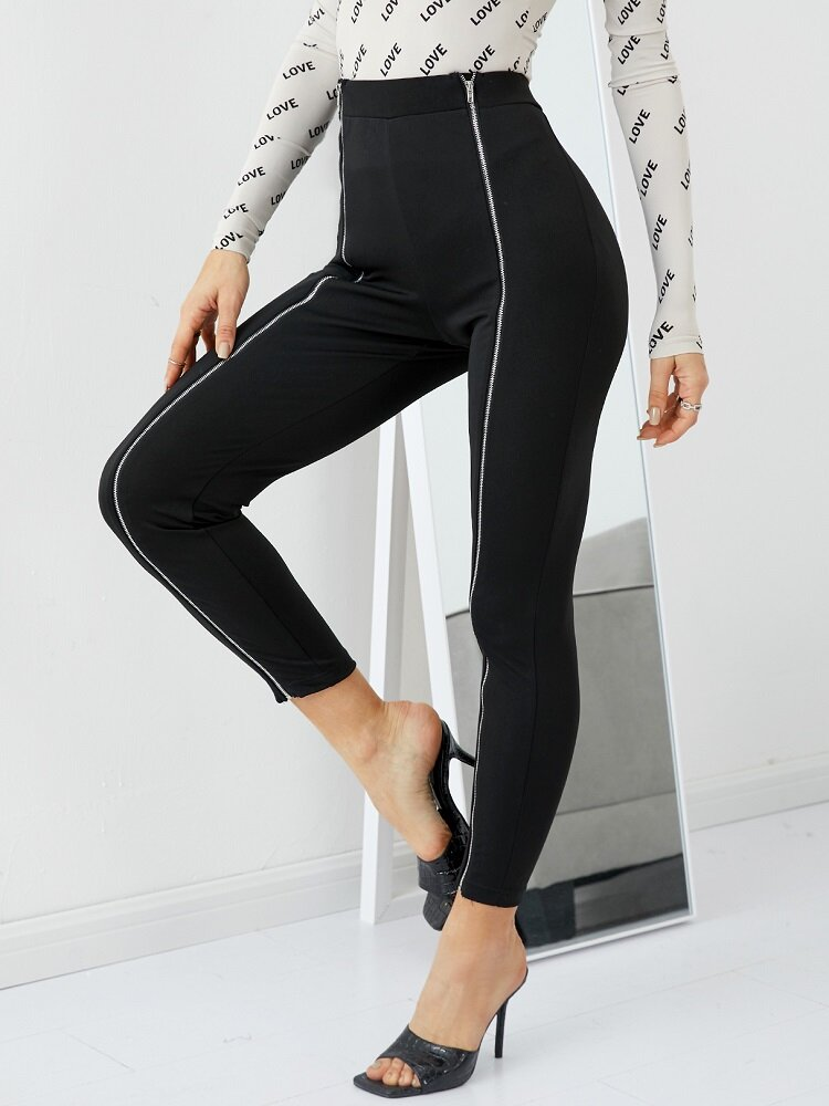 Solid Color Bodycon Casual Pants Zipper Leggings For Women