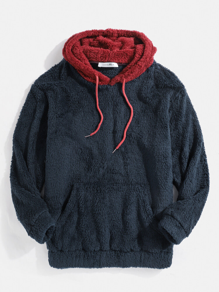 Mens Patchwork Casual Fleece Loose Pouch Pocket Teddy Hoodie