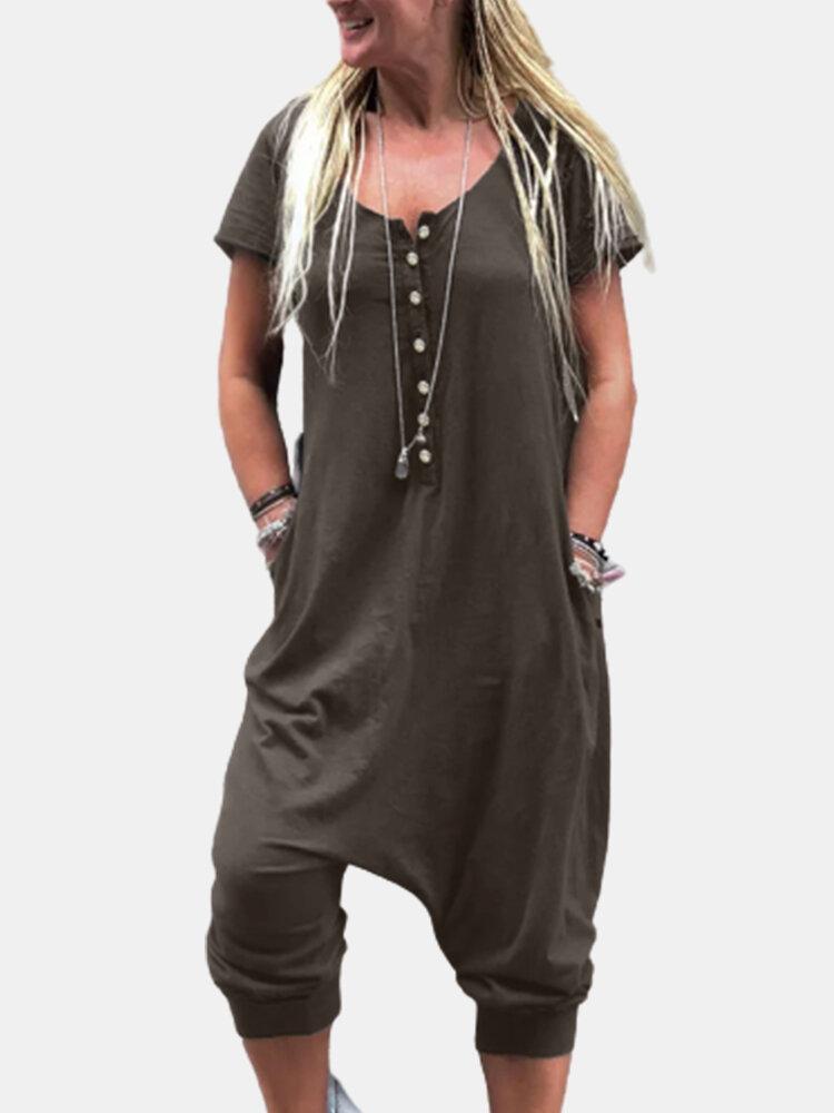 Casual Drop Crotch Solid Color Short Sleeve Plus Size Jumpsuit