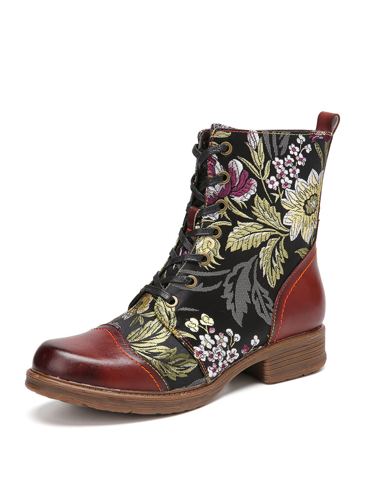 SOCOFY Elegant Flowers Embroidery Genuine Leather Lace-up Comfy Side Zipper Short Boots