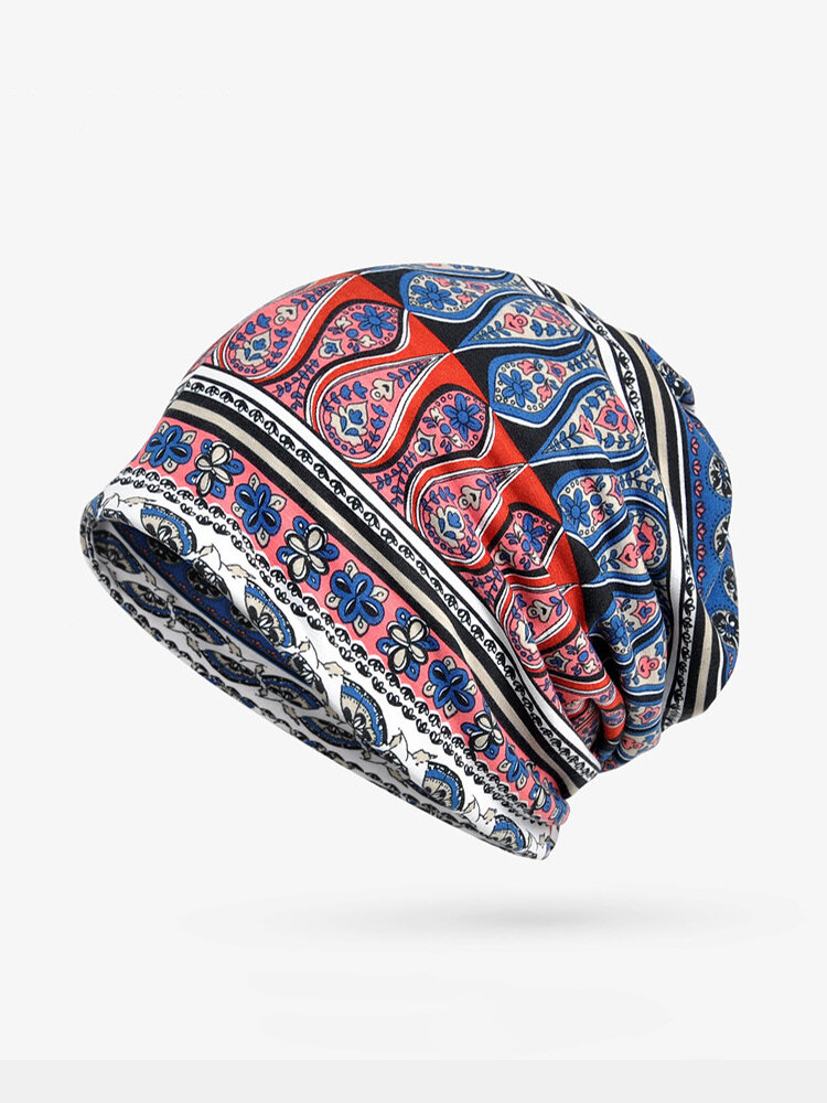Women Cotton Geometric Print Beanie Cap Casual Outdoor Scarf And Hat Double Use
