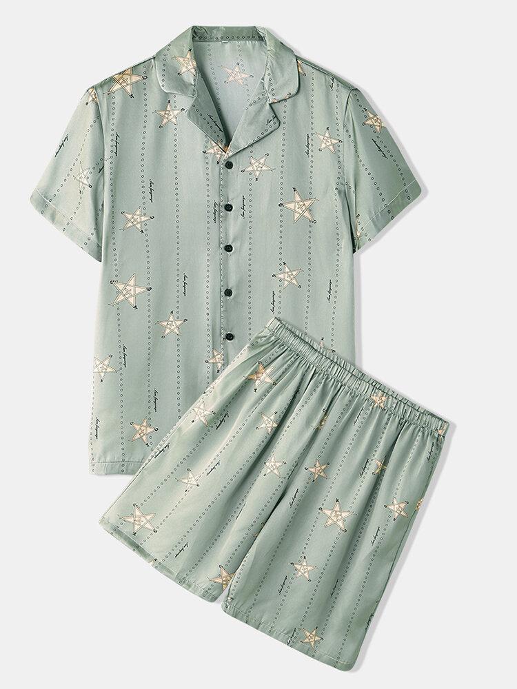 Men Light Green Star Print Luxury Pajamas Short Sleeve Faux Silk Slepwear Cozy Loungewear