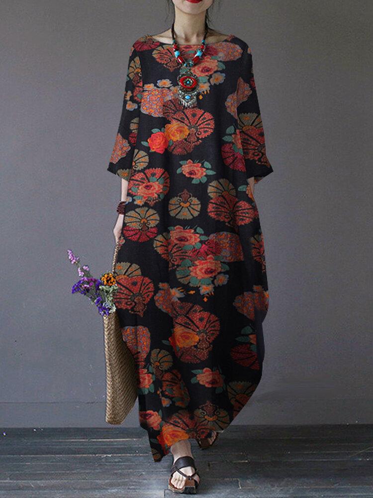 Floral Print Side Pockets O-neck 3/4 Sleeve Cotton Long Dress