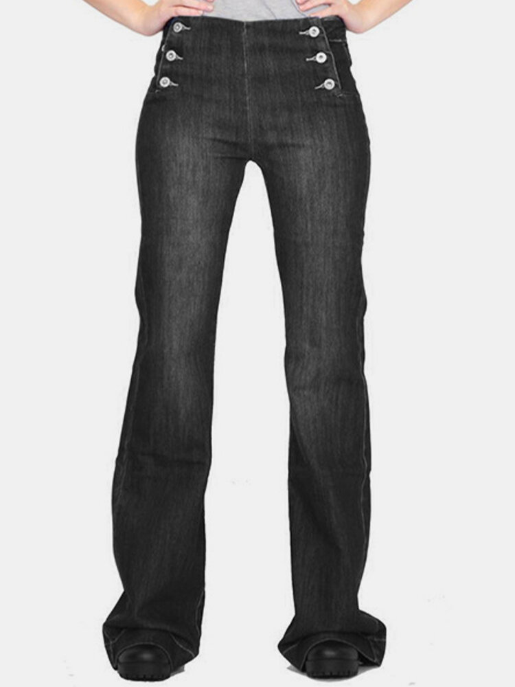 Solid Color Button Mid Waist Casual Jeans For Women