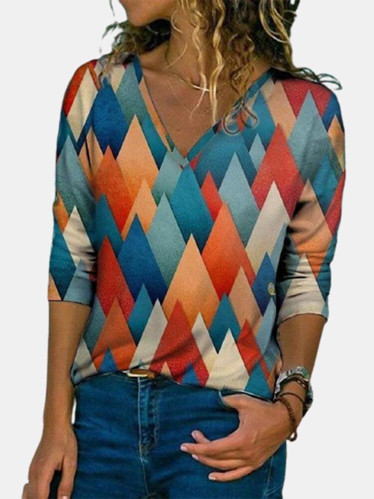 Geomtric Print V-neck Long Sleeve Vintage Plus Size T-shirt