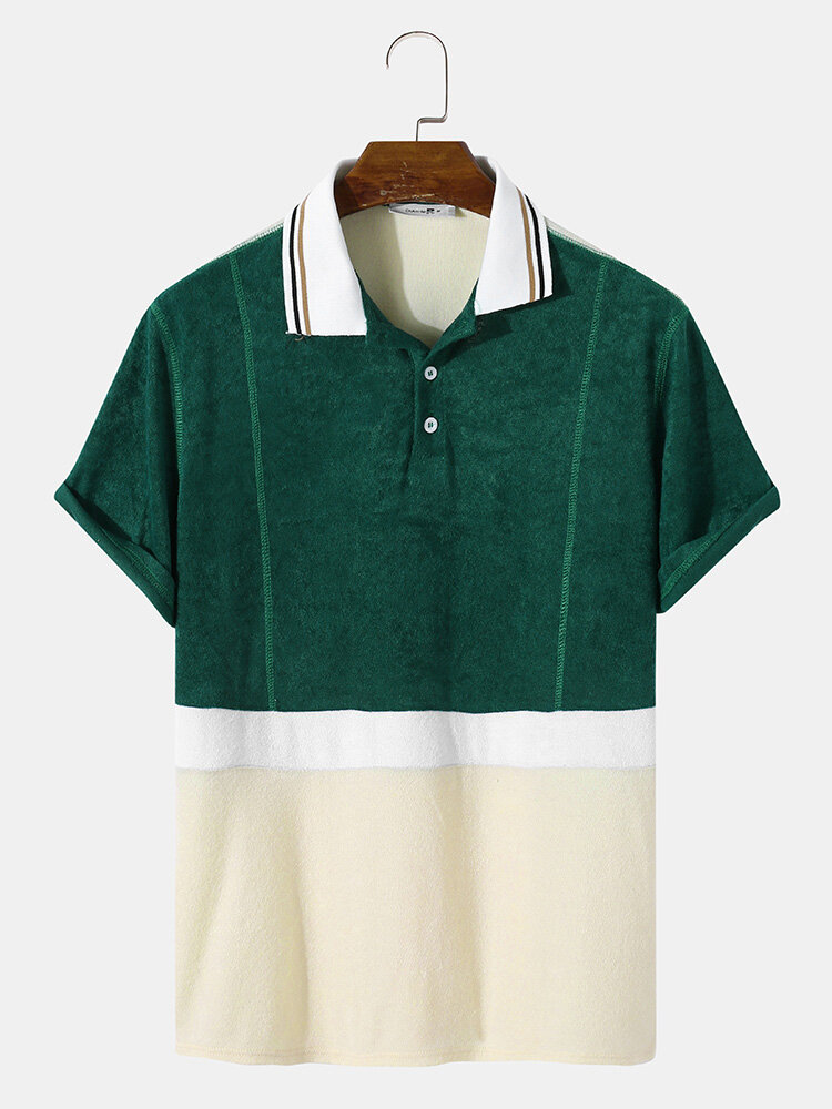 Mens Design Towelling Topsithch Two Tone Short Sleeve Casual Golf Shirt