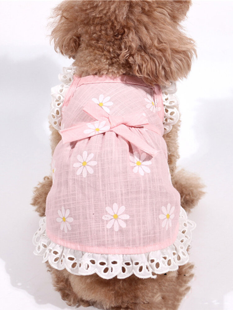 Pet Clothes Summer Dress Linen Cotton Sling Flying Sleeves Daisy Flower Doll Skirt Pet Clothing