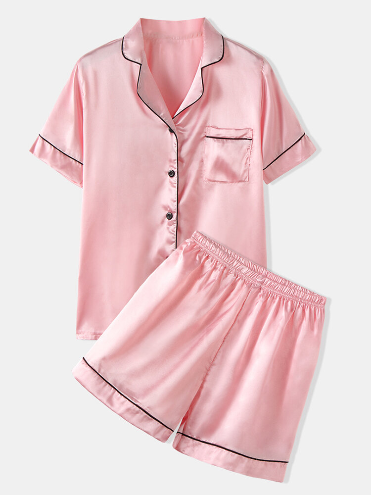 Plus Size Women Faux Silk Pajamas Set Solid Smooth Breathable Lapel Collar Loungewear With Short Sleeve Top
