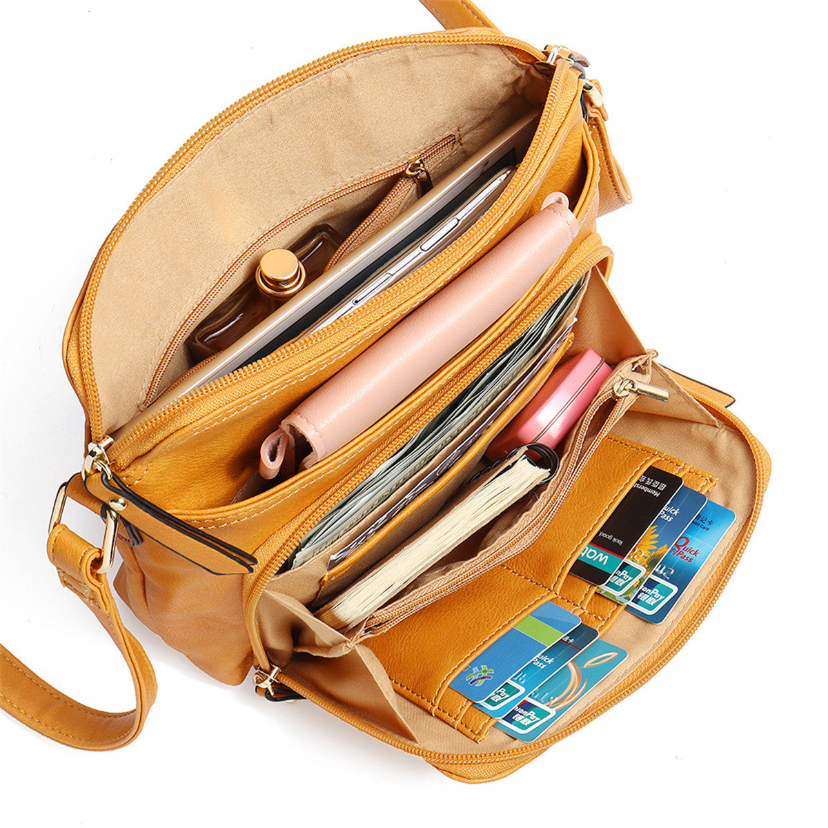 MANDY Women Solid Multi-pockets Casual Faux Leather Crossbody Bag