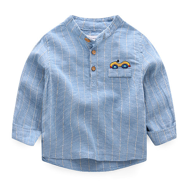 Spring Boys Kids Long Sleeve Pattern Casual Shirts Tops For 2Y-9Y