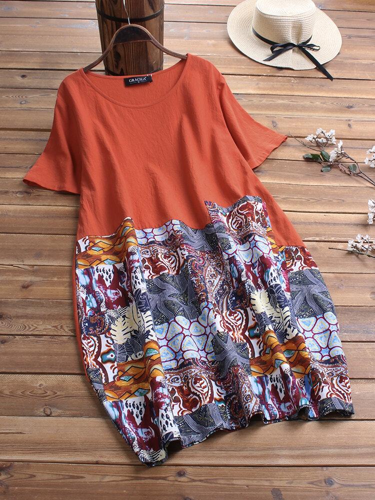 Ethnic Print Patchwork Short Sleeve Vintage Dress