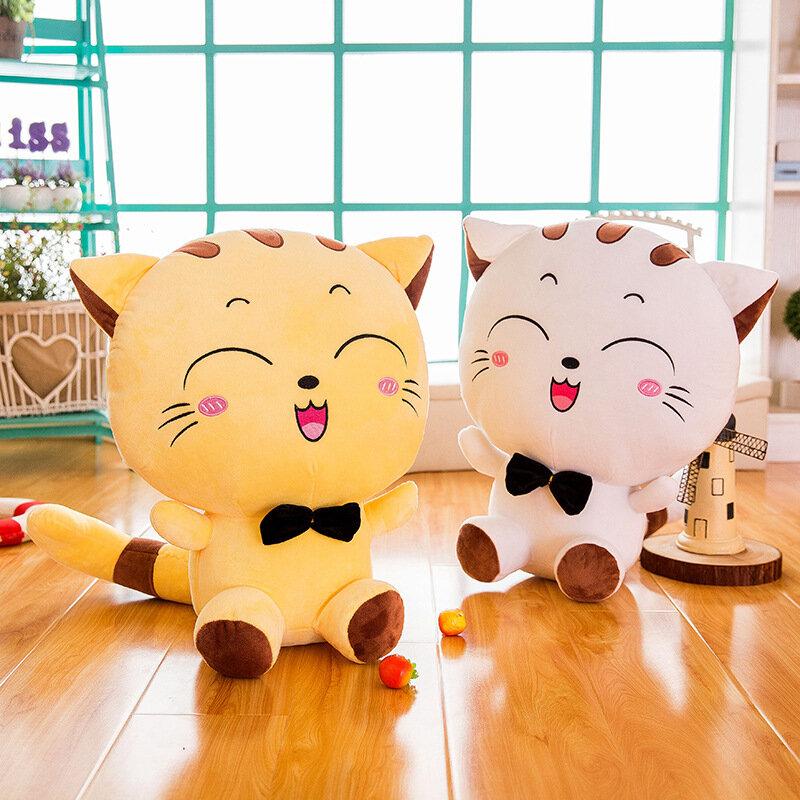 35/50/65/80cm Smile Cat Pillow Short Plush PP Cotton Stuffed Pillow Child Gift Home Decor Toys