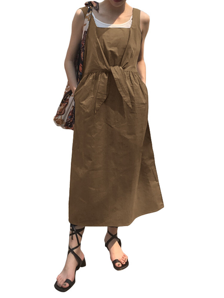 Casual Knot Front Sleeveless Plus Size Dress with Pockets