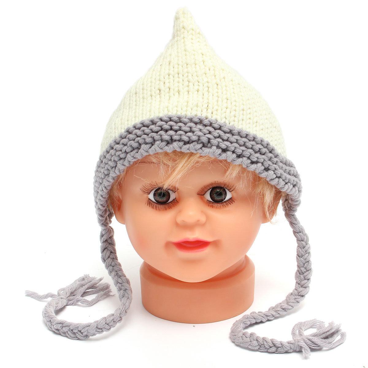 Newborn Baby White Crochet Knit Hat Photo Photography Prop Warm Cap