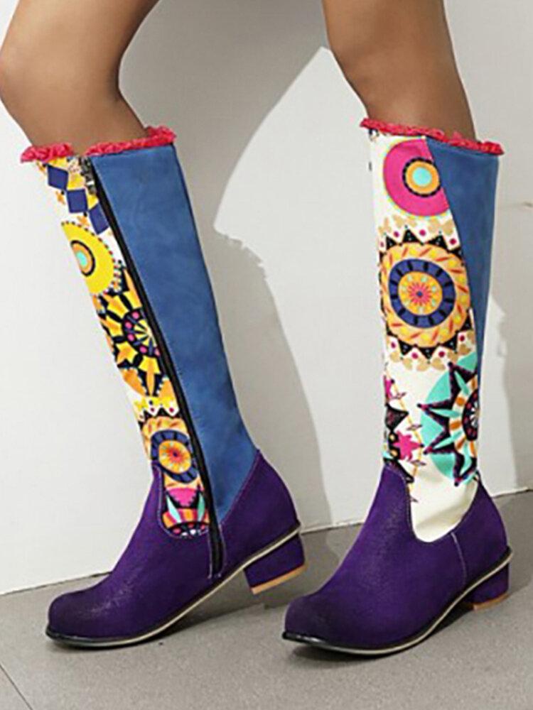 Plus Size Women Folkways Sunflowers Pattern Casual Splicing Zipper Knee Boots