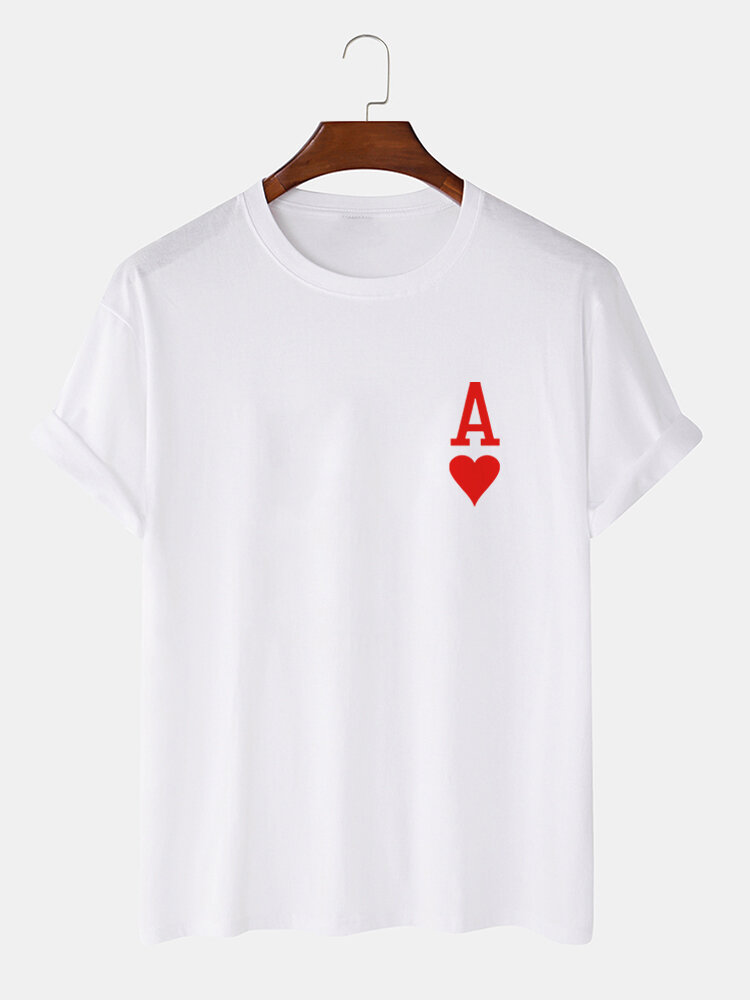 Mens Ace Of Hearts Poker Print 100% Cotton Short Sleeve T-Shirts-9 Colors