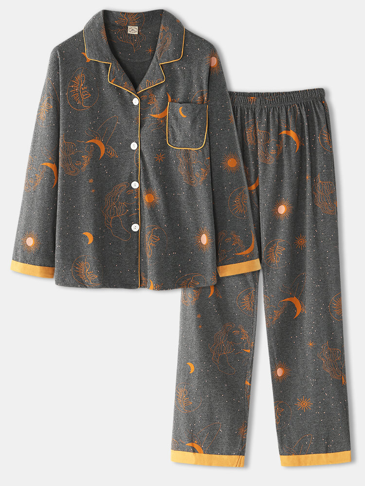 Women Cotton Halloween Print Loose Button Front Long Sleeve Two Pieces Home Pajamas Set