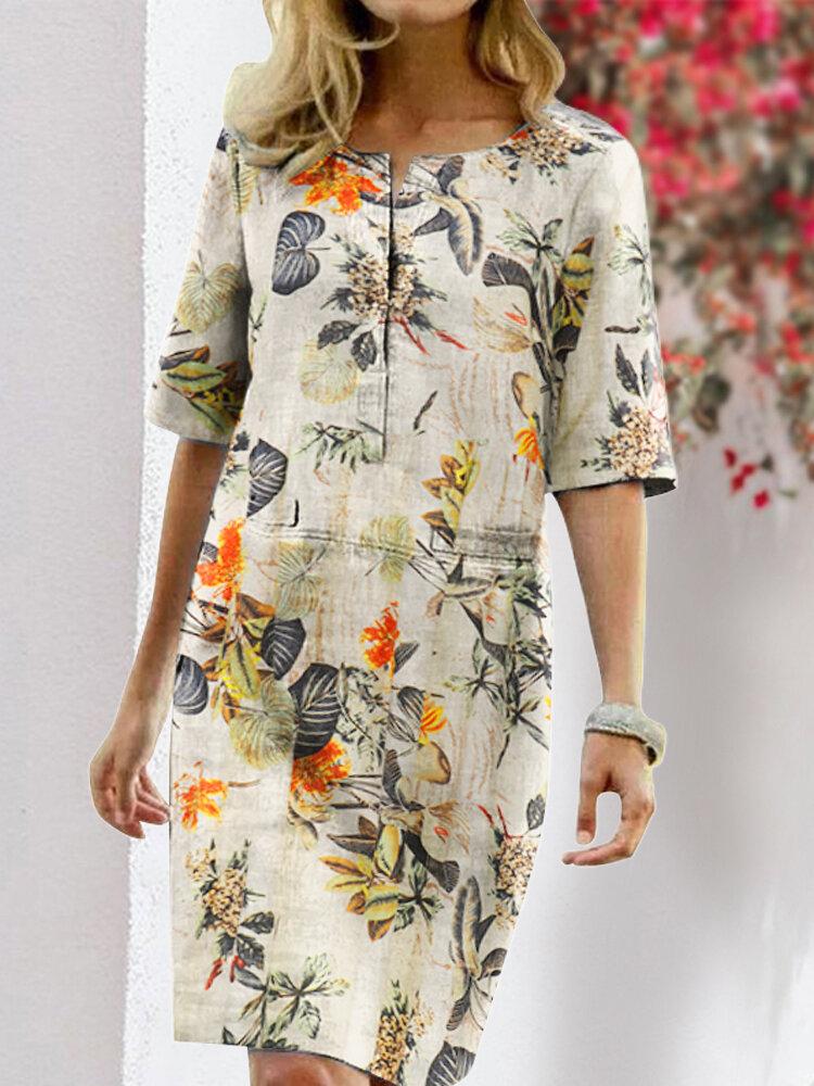 Blumendruck Split O-Ausschnitt Halbarm Casual Cotton Kleid