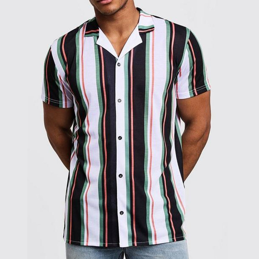 ChArmkpR Mens Funny Multi Color Striped Turn Down Collar Short Sleeve Casual Loose Shirts Best Online