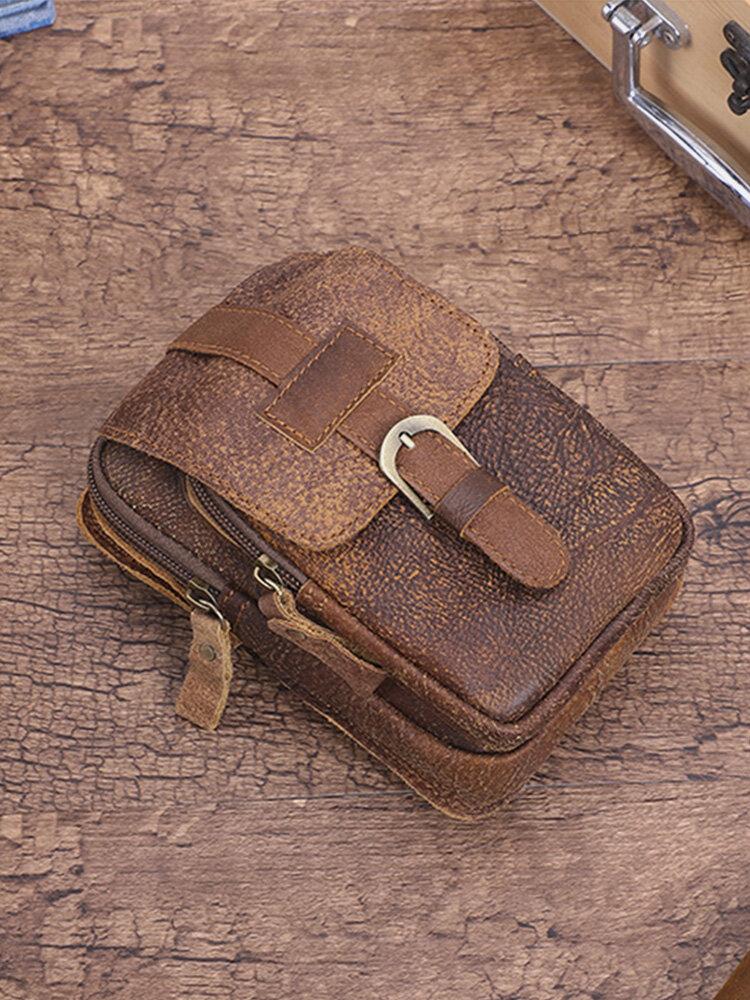 Men Vintage Brown Genuine Leather Cow Leather 6.5 Inch Phone Bag Waist Bag Wallet