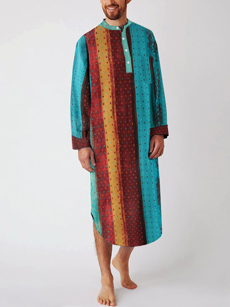 Ethnic Multi-Color Striped Dot Cotton Breathable Long Sleeve Loungewear Robe With Chest Pockets