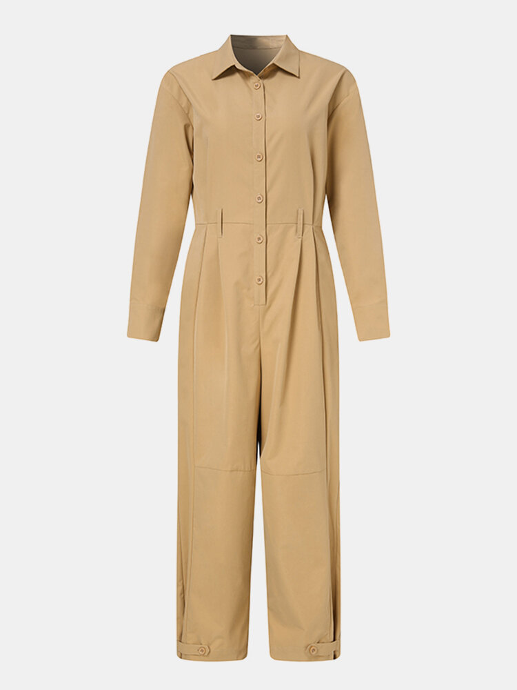 Solid Color Pleated Long Sleeve Casual Jumpsuit for Women