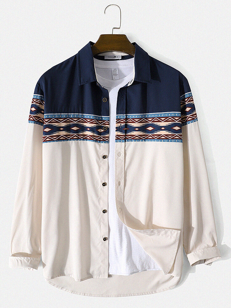 Mens Ethnic Geo Pattern Patchwork Lapel Casual Long Sleeve Shirts