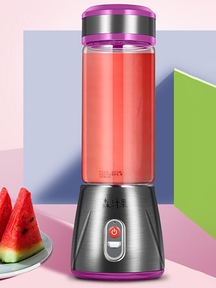 Glass Electrical Fruit Juicer Bottle Stainless Steel Juice Maker Machine Portable Blender Mixer