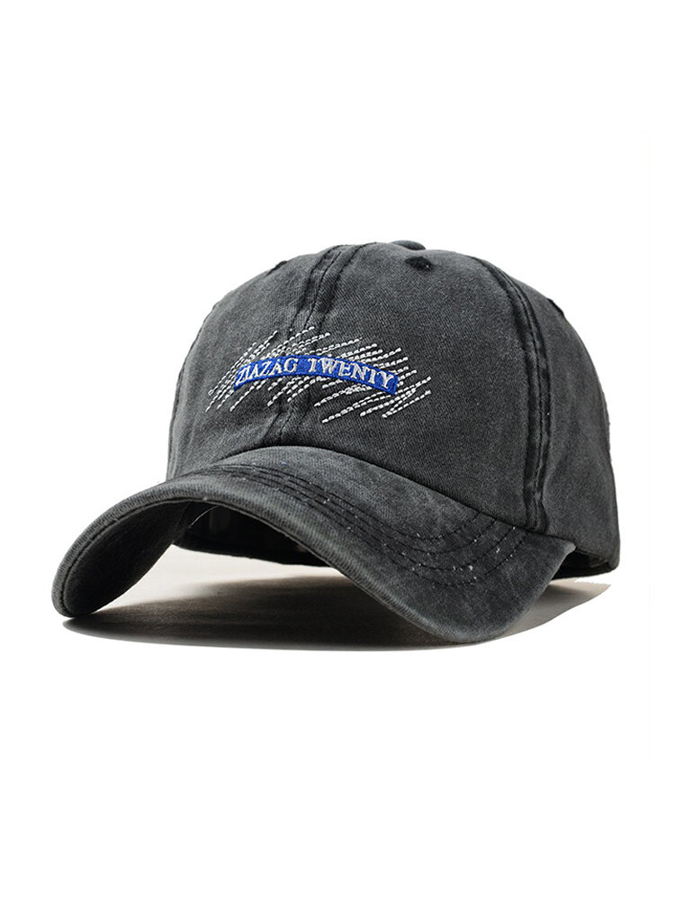 Unisex Embroidery Pattern Washed Denim Baseball Cap Classic Breathable Outdoor Sunshade Hat