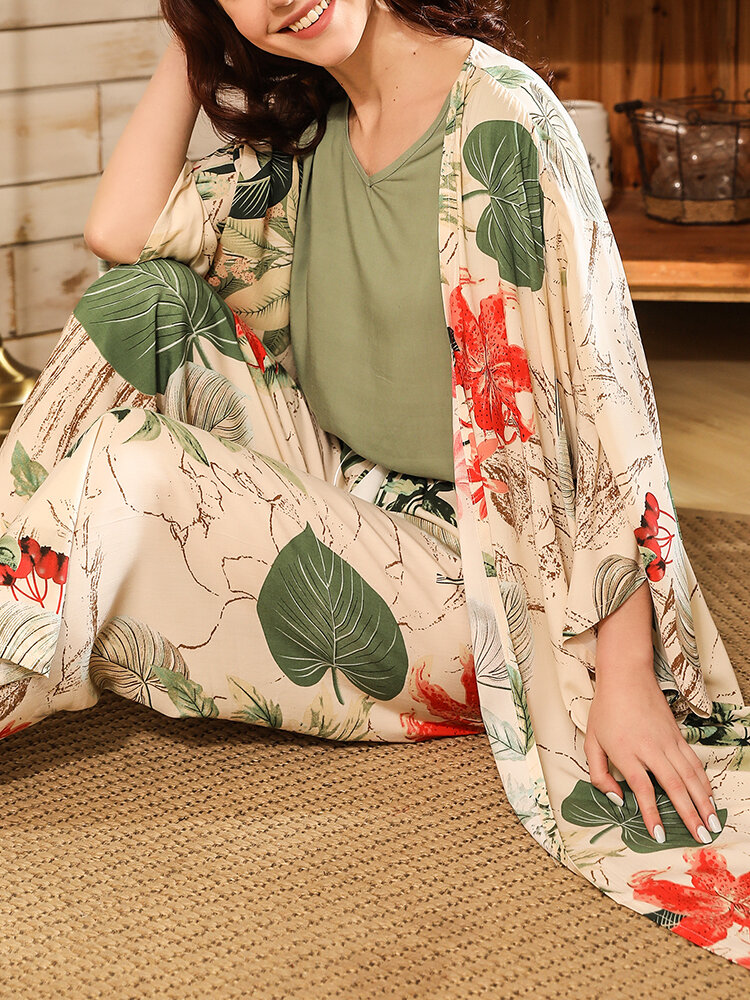 Women 3 Pieces Floral Print Loose Casual Breathable Thin Lounge Pajamas Sets