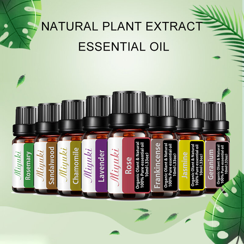 8 Pcs/Set Lavender Plant Essential Oil Humidifier Diffuser Massage Aromatherapy SPA Skin Care Essential Oil Gift Set