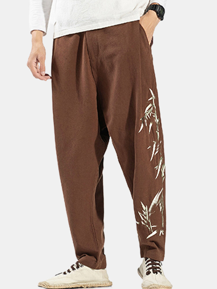 Mens Cotton Linen Embroidery Chinese style Loose Straight Harem Pants