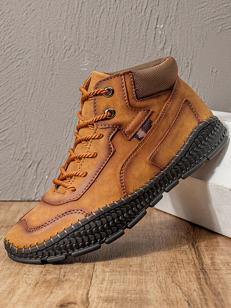 Men Hand Stitching Microfiber Leather Lace Up Ankle Boots