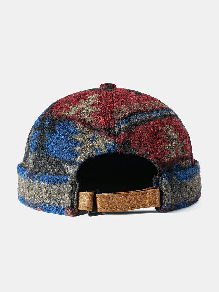 Men & Women Retro Brimless Skull Cap Multicolor Maple Leaf Pattern Caps Customized Hats