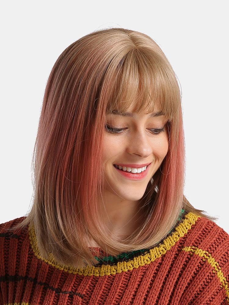 14-Zoll-Chemiefaser-Perücken Mode Mischfarbe Mittel Länge Gerade beheizte widerstandsfähige Perücken Damen