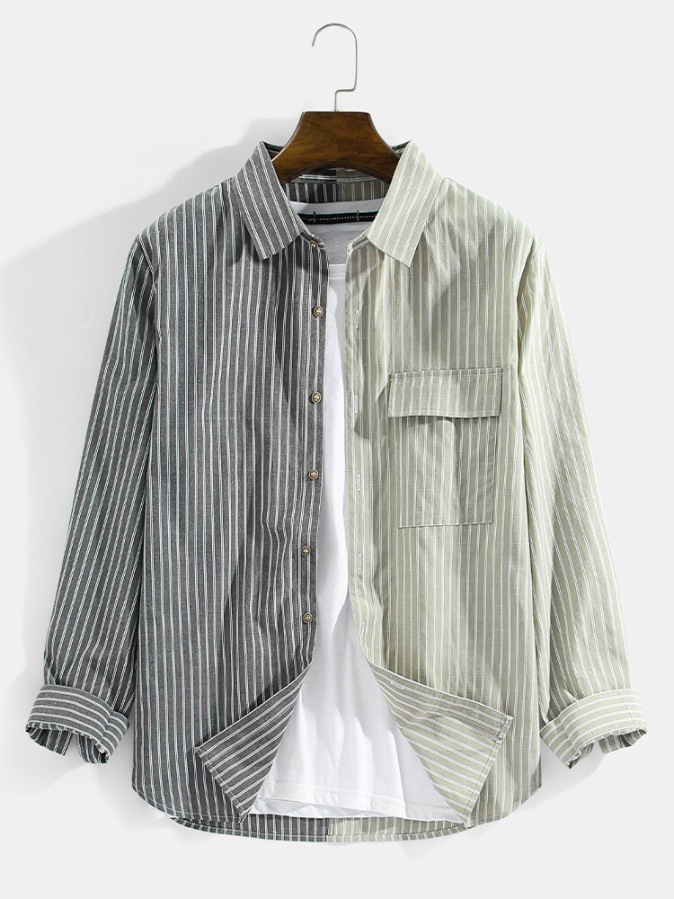 Mens Striped Patchwork Cotton Casual Long Sleeve Shirts With Flap Pocket